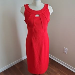 Cleo Red Textured Shift Dress Size 12